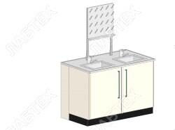 Стол мойка ЛАБТЕХ ПроМо-4А двойная двухдверная с сушилкой