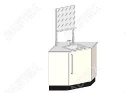 Стол мойка ЛАБТЕХ ПроМо-5К однодверная для внешних угловых переходов, 900*900*900