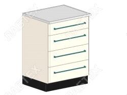 Стол тумба лабораторный ЛАБТЕХ ПроСт-12ДК с 4-мя ящиками, 600*650*900