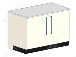 Стол тумба лабораторный ЛАБТЕХ ПроСт-41А двухдверный, 1200*900*900