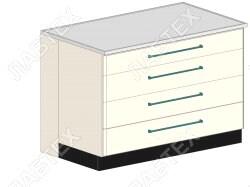Стол тумба лабораторный ЛАБТЕХ ПроСт-42ДК с 4-мя ящиками, 1200*900*900