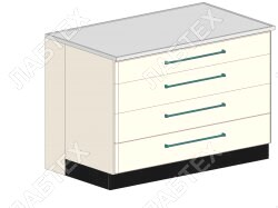 Стол тумба ЛАБТЕХ ПроСт-42К с 4-мя ящиками лабораторный