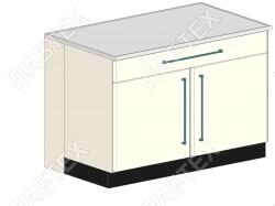 Стол тумба ЛАБТЕХ ПроСт-43ДК двухдверный с ящиком лабораторный