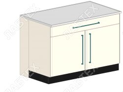 Стол тумба лабораторный ЛАБТЕХ ПроСт-43Т двухдверный с ящиком, 1200*900*900