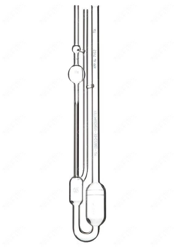 Вискозиметр стеклянный Ubbelohde №3 (k=1.0, 200...1000 сСт) капиллярный для прозрачных жидкостей, поверка